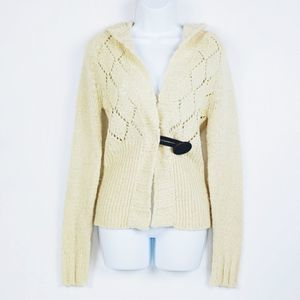 Free People Chunky Hooded Cardigan Cream sz L